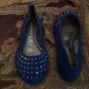 Studded, Cobalt Blue Flats Size 6